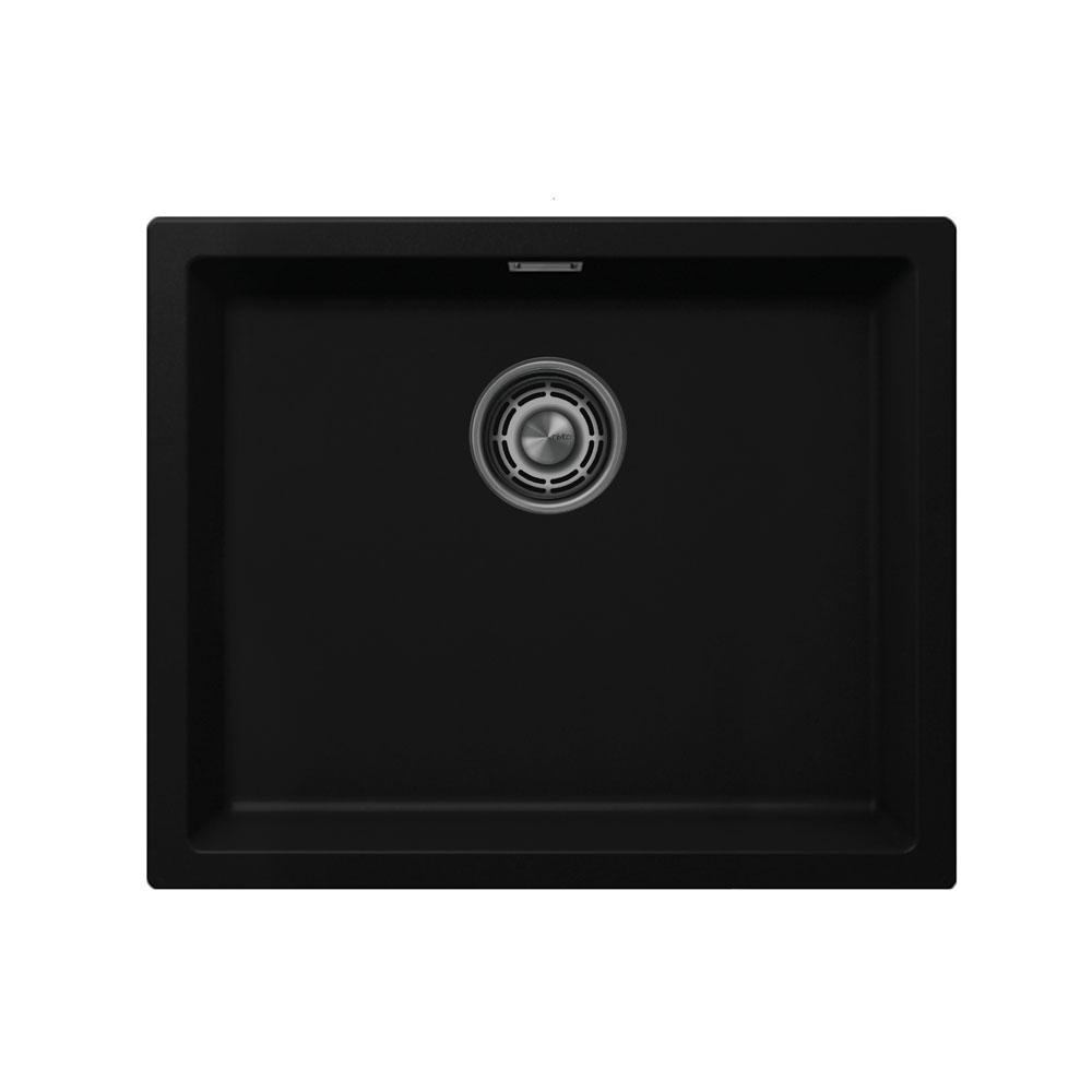 Černá Kuchyňský Dřez - Nivito CU-500-GR-BL Brushed Steel Strainer ∕ Waste Kit Color